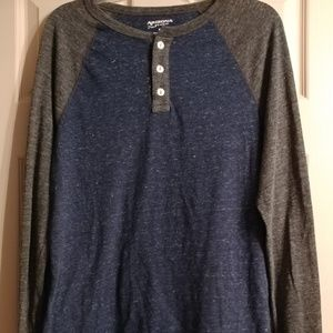Men's Blue and Charcoal Grey Long Sleeve Shirt